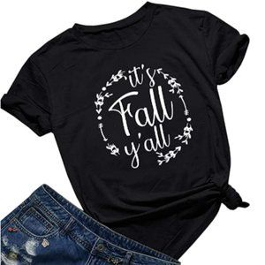 It's Fall Y'All Black Graphic T-Shirt